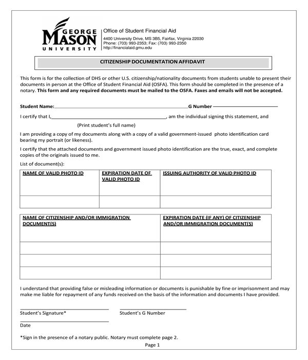 citizenship documentation affidavit form