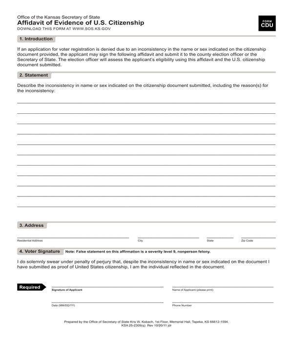 citizenship evidence affidavit form