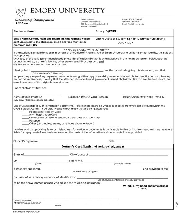 citizenship immigration affidavit form