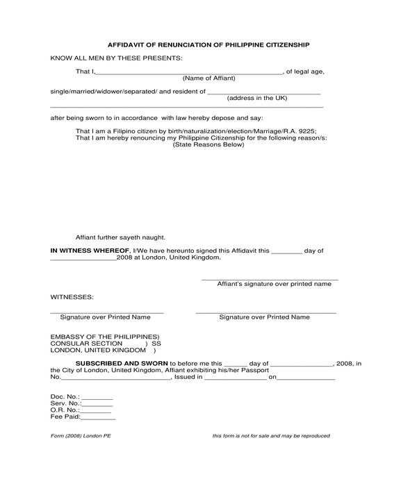 citizenship renunciation affidavit form