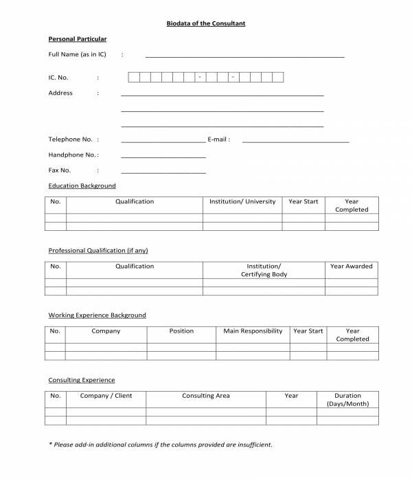 consultant bio data form in pdf