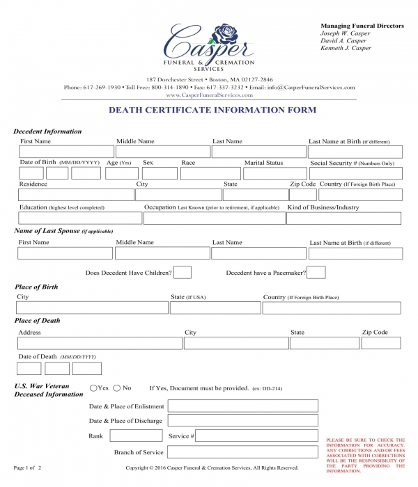 death certificate information form