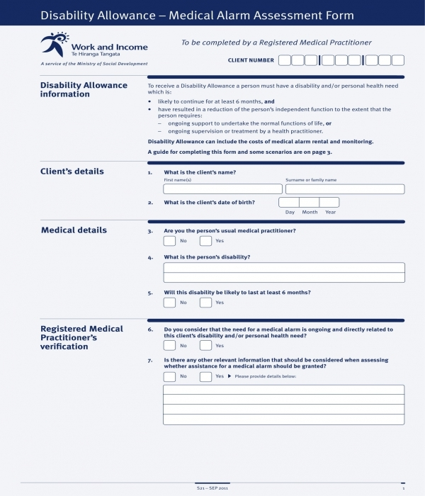 disability allowance assessment form