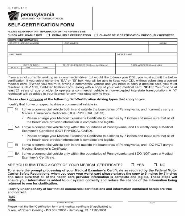 driver self certification form