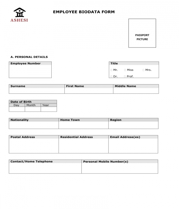 employee bio data form sample