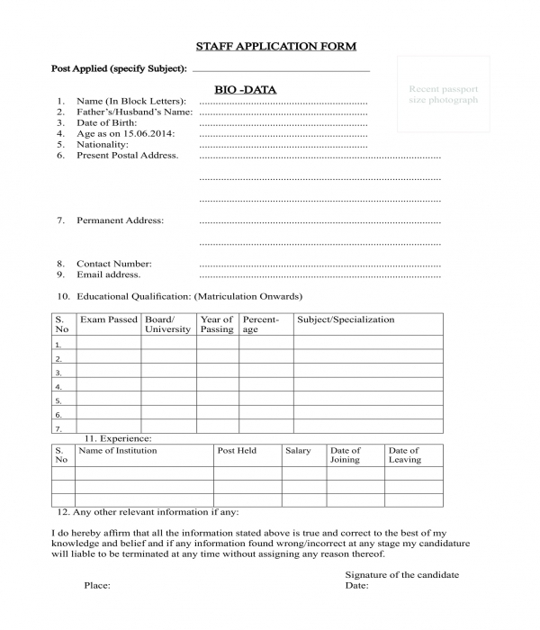 employee staff application bio data form