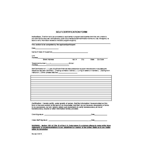 entity self certification form