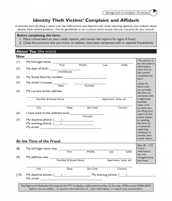 identity theft victims' complaint and affidavit form