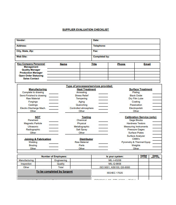 supplier evaluation checklist form1