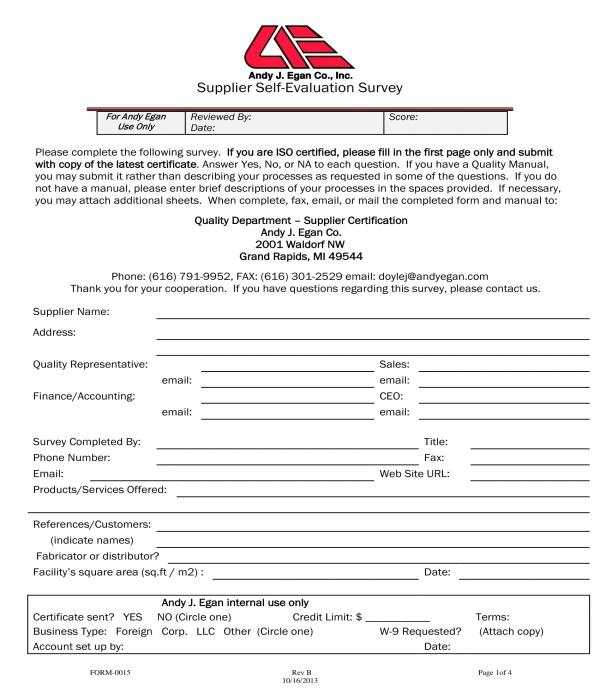 supplier self evaluation survey form