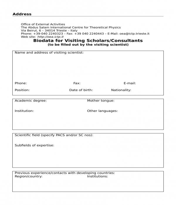 visiting consultant biodata form