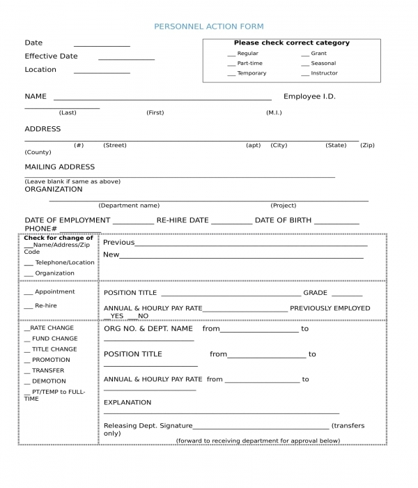 basic personnel action form sample in word