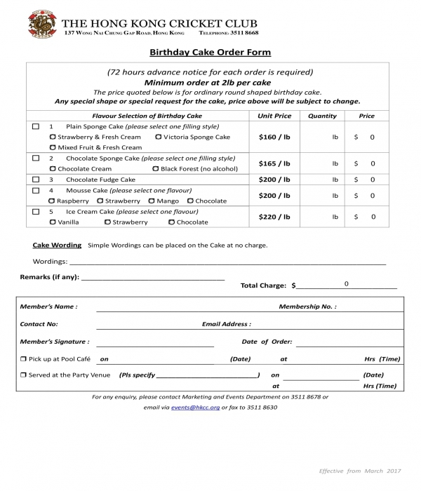 birthday cake order form in doc
