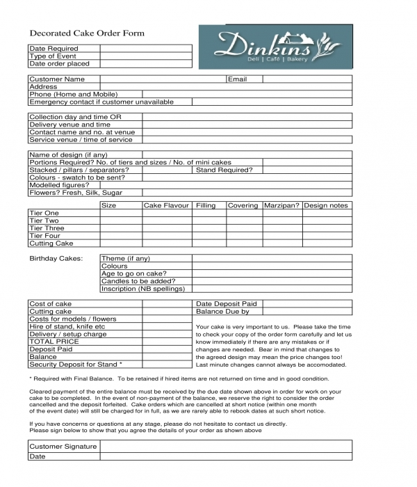 decorated cake order form in doc