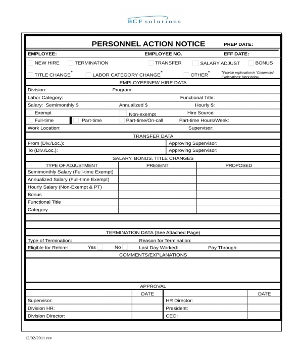 personnel action notice form in word
