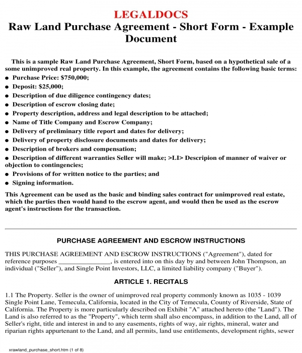 raw land purchase agreement form