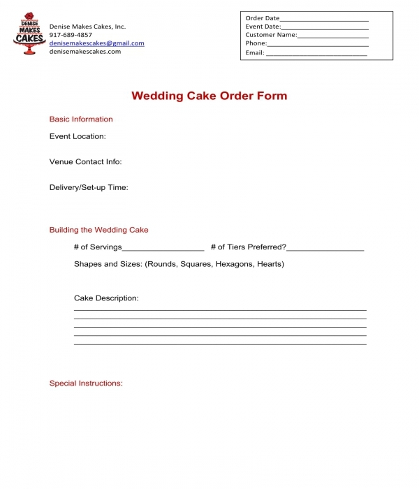 wedding cake order form in doc