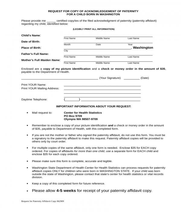 affidavit of paternity copy request form