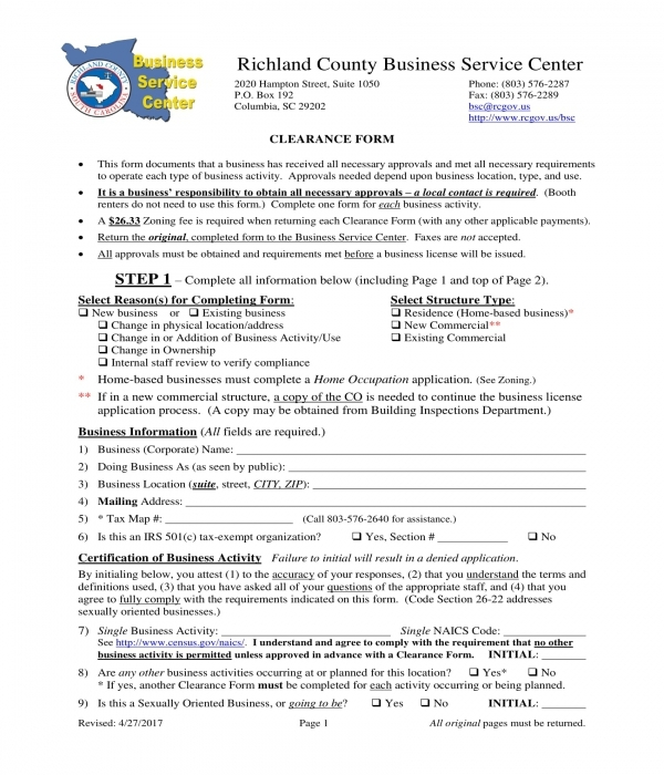 company business clearance form