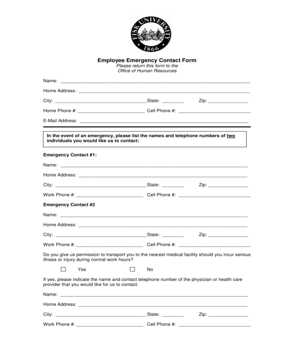employee emergency contact form sample