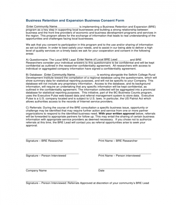 expansion business consent form