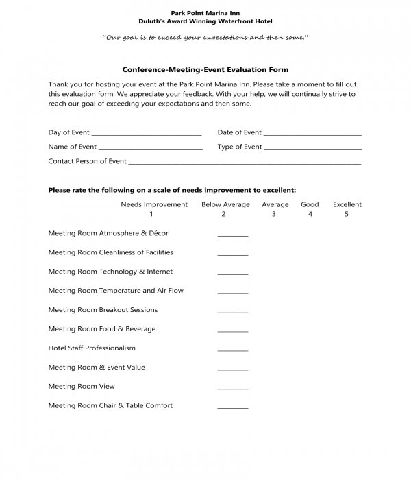 Free 3 Hotel Feedback Evaluation Forms In Pdf Ms Word