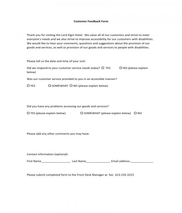 hotel customer feedback form