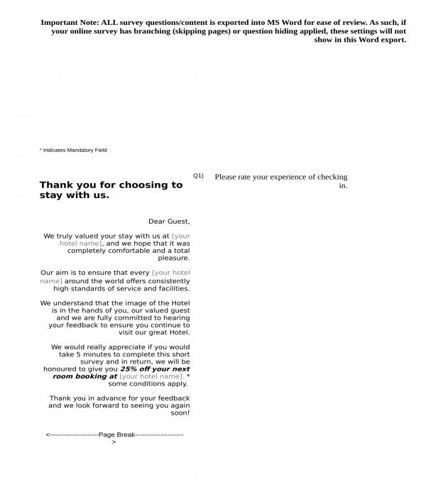 hotel feedback form sample in doc
