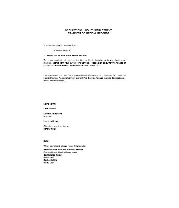 medical treatment records transfer form