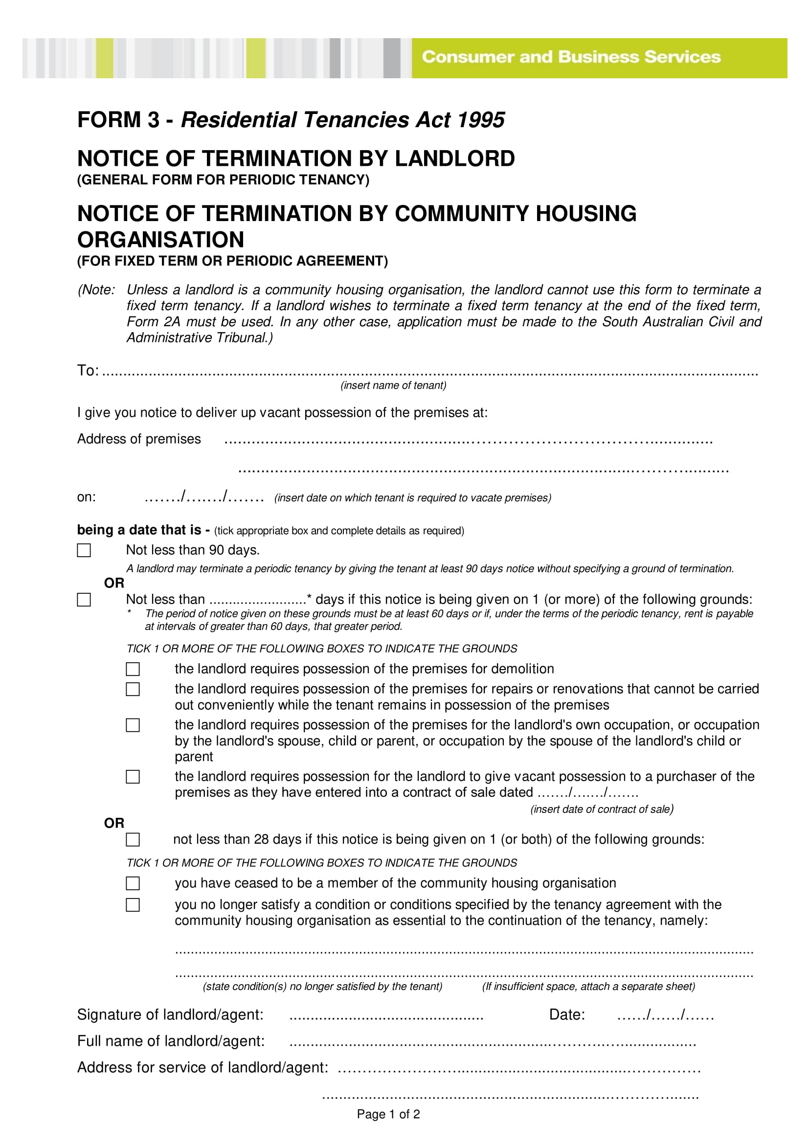 notice of termination by landlord