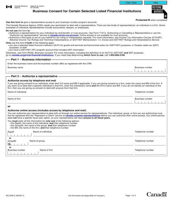 selected business consent form