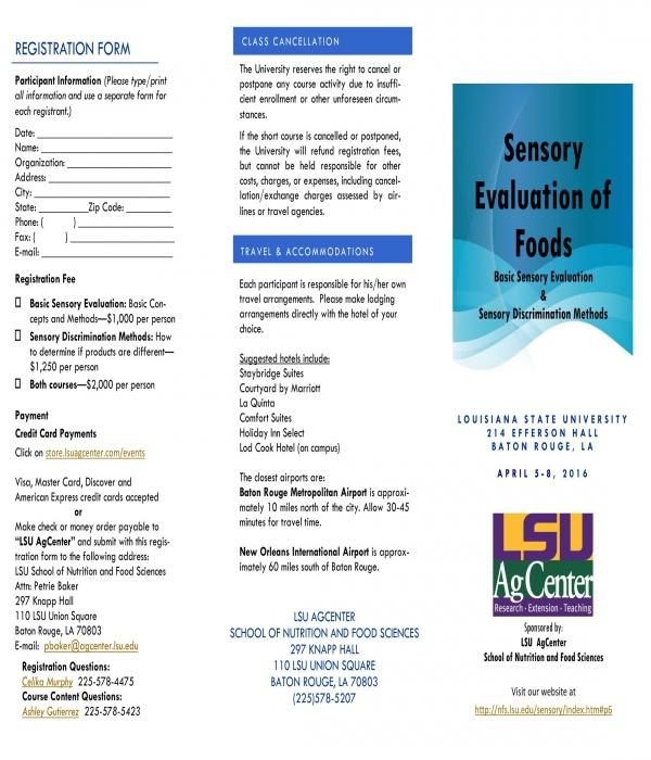 sensory evaluation of foods registration form