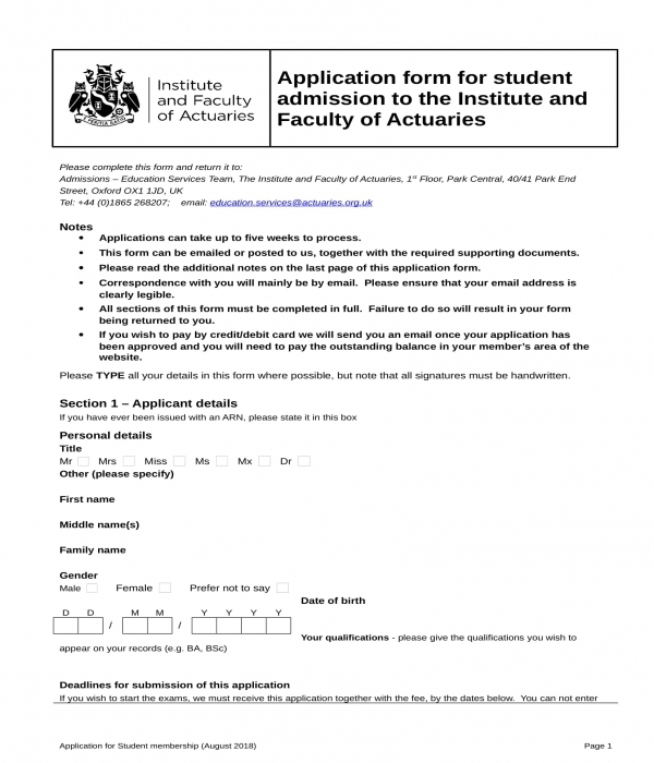 student application admission form in doc