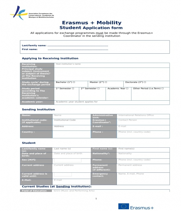 student mobility application form in doc
