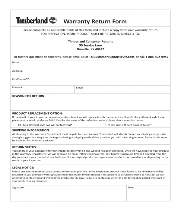 warranty return form template