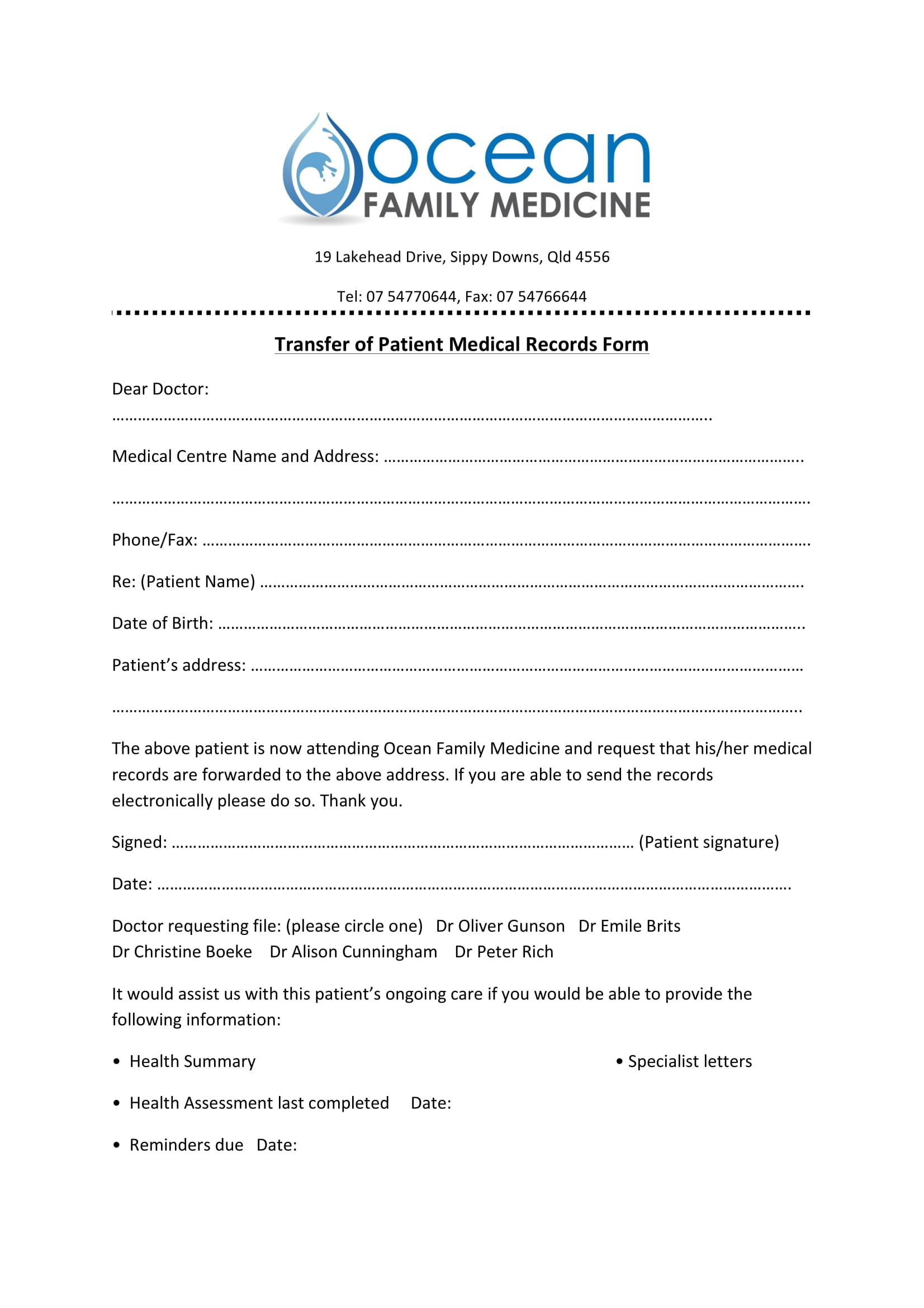 transfer of records form
