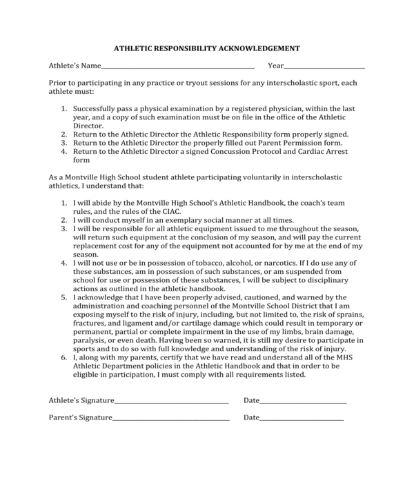 athletic responsibility acknowledgement form