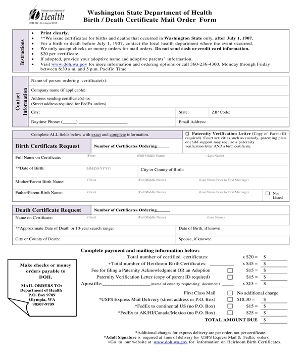 death certificate mail order form