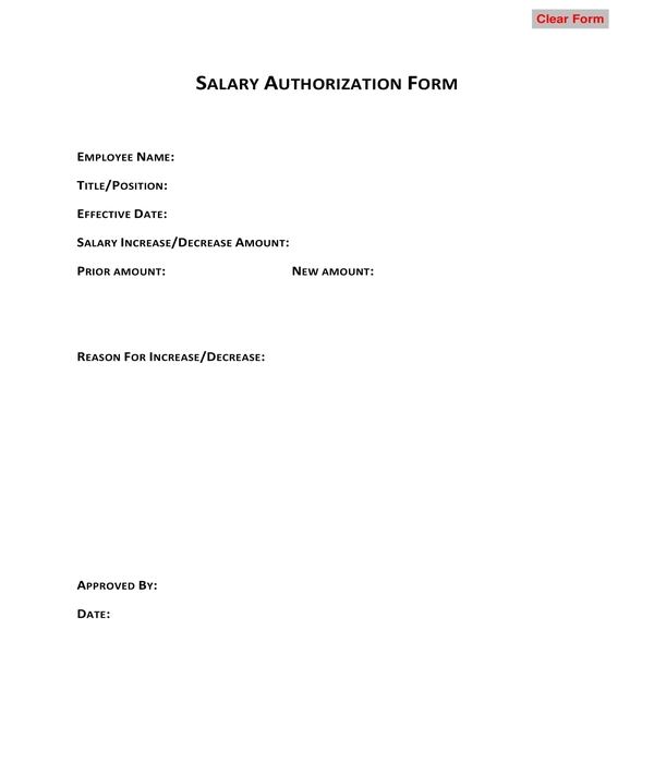 salary authorization form