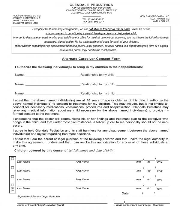 alternate caregiver consent form