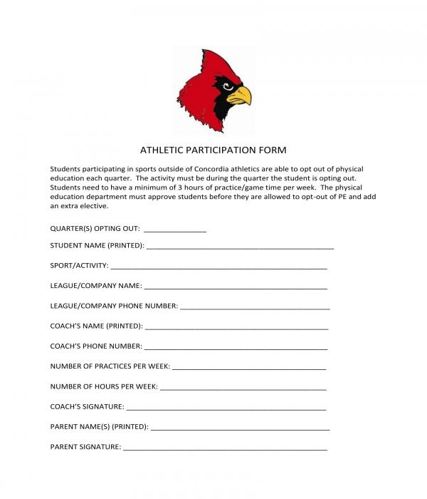 basic athletic participation form