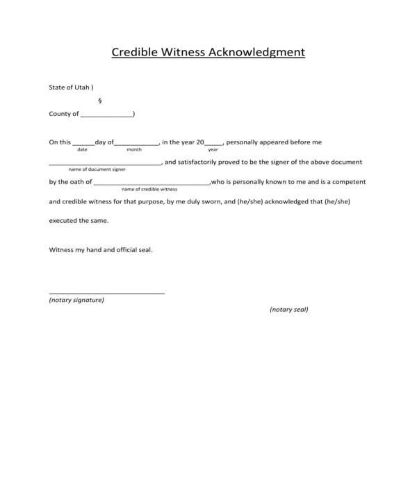 basic credible witness acknowledgment form