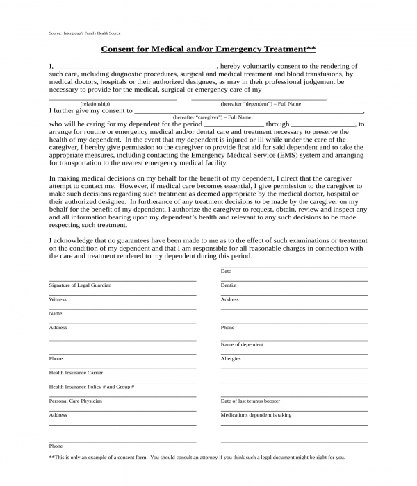 caregiver emergency treatment consent form