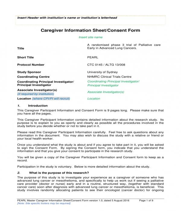 caregiver information sheet consent form