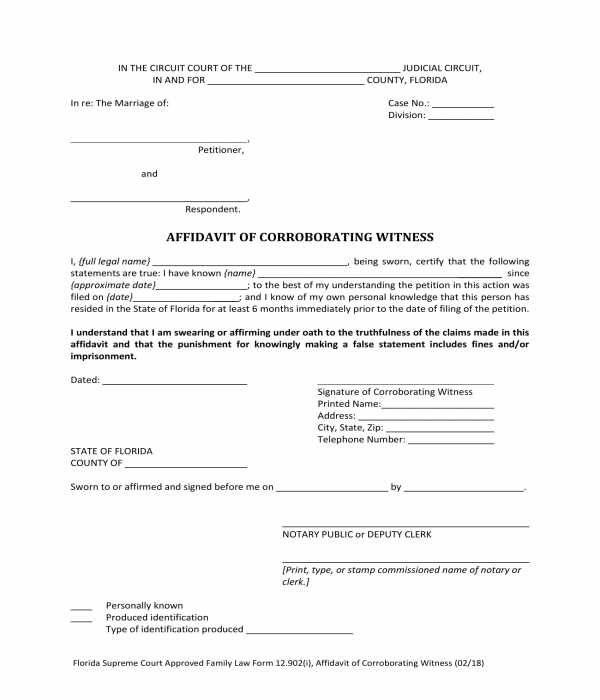 corroborating witness affidavit acknowledgment form