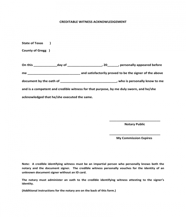 creditable witness acknowledgment form