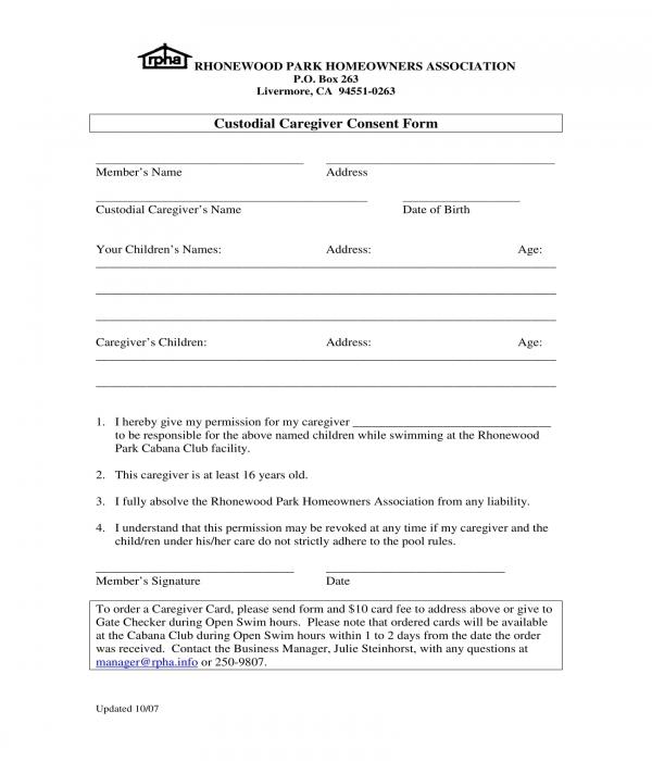 custodial caregiver consent form