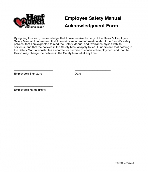 employee safety manual acknowledgment form