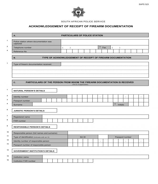 firearm acknowledgment of receipt form