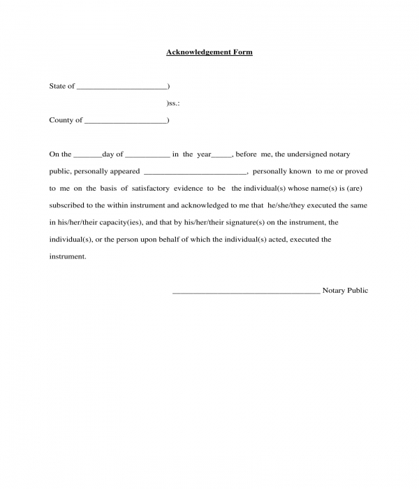 general witness acknowledgment form